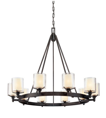 Troy Lighting F1710FR Arcadia 10 Light Chandelier in French Iron