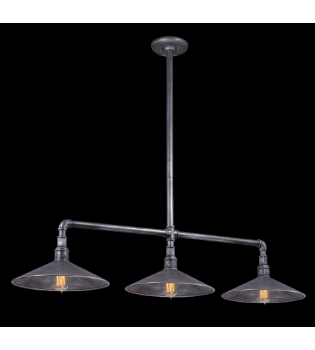 Troy Lighting F2776 Industrial 3 Light Toledo Island In Old Silver
