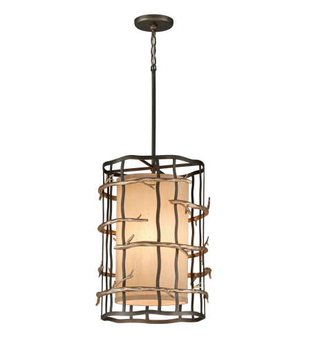 Troy Lighting F2883 Adirondack 3 Light Pendant In Graphite And Silver Leaf