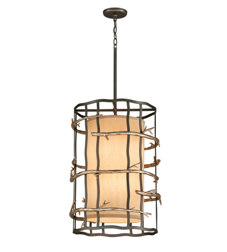 Troy Lighting F2884 Adirondack 6 Light Pendant In Graphite And Silver Leaf