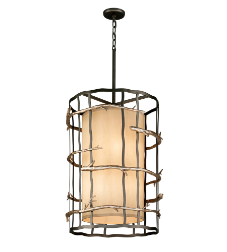Troy Lighting F2885 Adirondack 6 Light Pendant In Graphite And Silver Leaf
