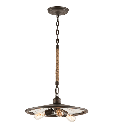 Troy Lighting F3145 Brooklyn 3 Light Pendant Small in Brooklyn Bronze