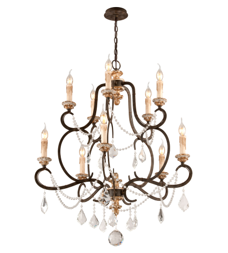 Troy Lighting F3516 Bordeaux 10 Light Chandelier Medium in Parisian Bronze