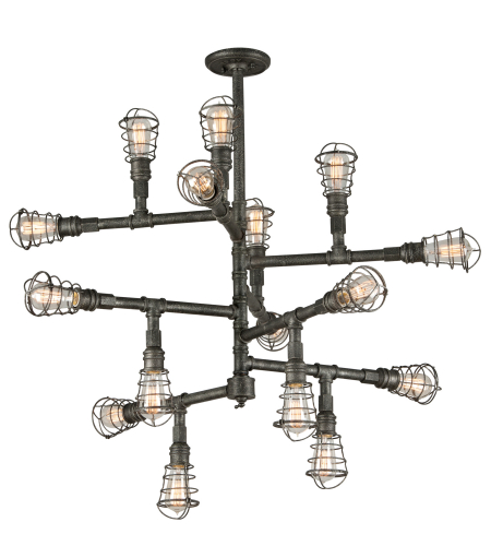 Troy Lighting F3818 Industrial 16 Light Conduit Chandelier In Old Silver