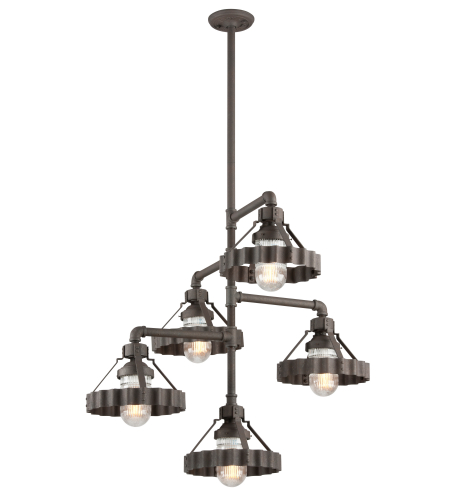 Troy Lighting F4247 Canary Wharf 5 Light Chandelier In Burnt Sienna