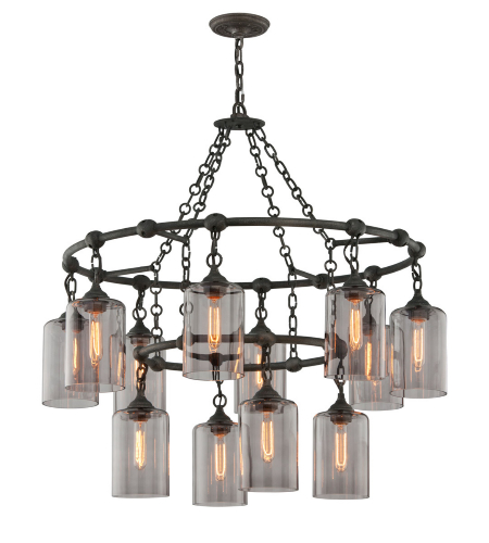 Troy Lighting F4425 Rustic 12 Light Gotham Pendant Large In Aged Silver