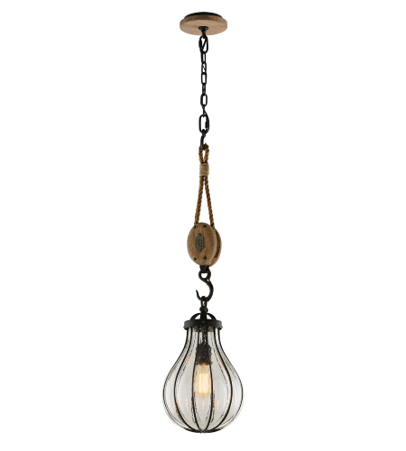 Troy Lighting F4904 Murphy 1 Light Pendant Small in Vintage Iron With Rustic Wood