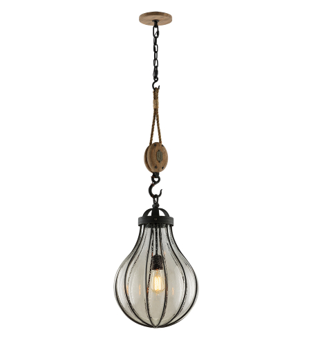 Troy Lighting F4905 Murphy 1 Light Pendant In Vintage Iron W/ Manila Rope And Rustic Wood