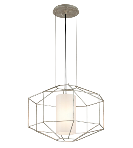 Troy Lighting F5256 Silhouette 1 Light Pendant In Silver Leaf