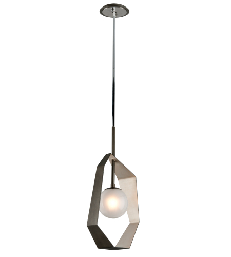 Troy Lighting F5533 Origami 1 Light Pendant In Graphite With Silver Leaf