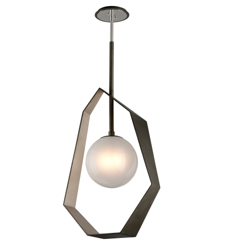 Troy Lighting F5535 Origami 1 Light Pendant In Graphite With Silver Leaf