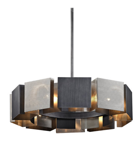 Troy Lighting F6045 Impression 10 Light Pendant In Graphite And Satin Nickel