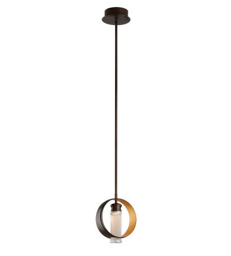 Troy Lighting Fl4895 Modern 1 Light Insight Pendant Small In Modern Bronze W/ Gold Leaf And Silver