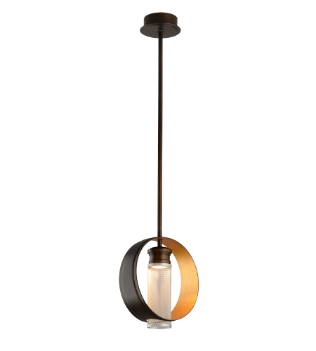 Troy Lighting Fl4896 Modern 1 Light Insight Pendant Medium In Modern Bronze W/ Gold Leaf And Silver
