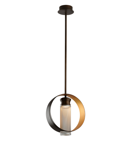 Troy Lighting Fl4897 Modern 1 Light Insight Pendant Large In Modern Bronze W/ Gold Leaf And Silver