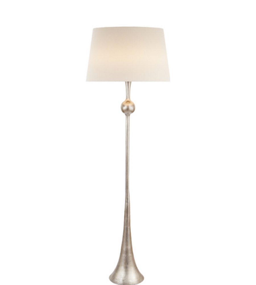 Visual comfort arn 1002bsl l aerin modern dover floor lamp in burnished silver leaf with linen shade
