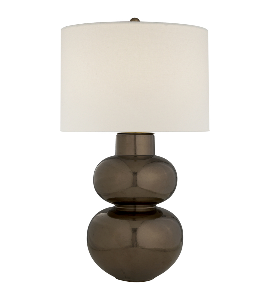 Visual Comfort ARN 3062BG L Aerin Traditional Merlat Table Lamp In Burnt  Gold With Linen Shade