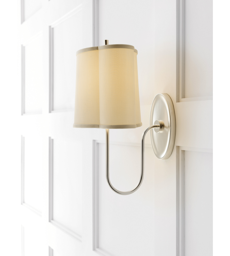 Visual comfort bbl 2017ss s barbara barry modern simple scallop wall sconce in soft silver with silk shade
