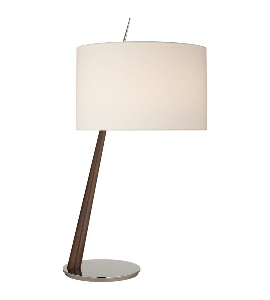Visual Comfort BBL 3090DW/PN L Barbara Barry Modern Stylus Large Angled Table  Lamp In Dark Walnut And Polished Nickel With Linen Shade