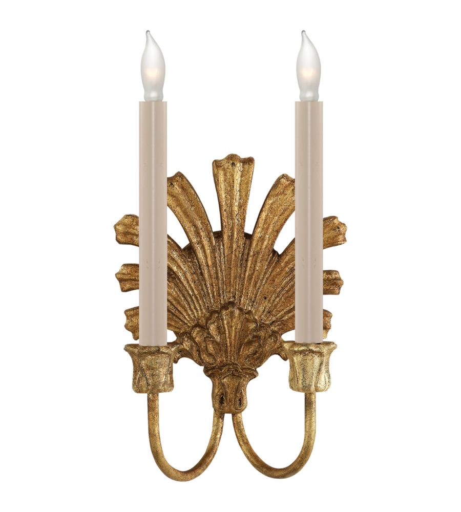 Visual Comfort CHD 1126GI E. F. Chapman Traditional Marlborough Double Sconce in Gilded Iron ...