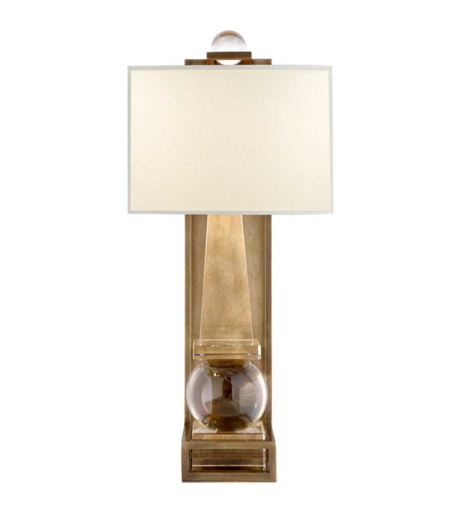 Visual Comfort CHD 2262CG/AB-PL E. F. Chapman Traditional Paladin Tall Obelisk Sconce in Crystal ...
