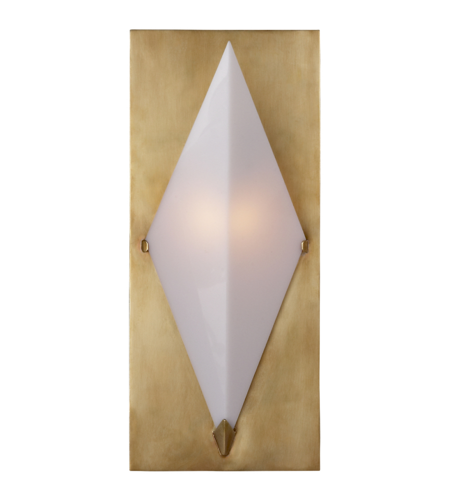 Visual Comfort KW 2250AB-WG Kelly Wearstler Modern Forma Sconce in Antique-Burnished Brass with ...