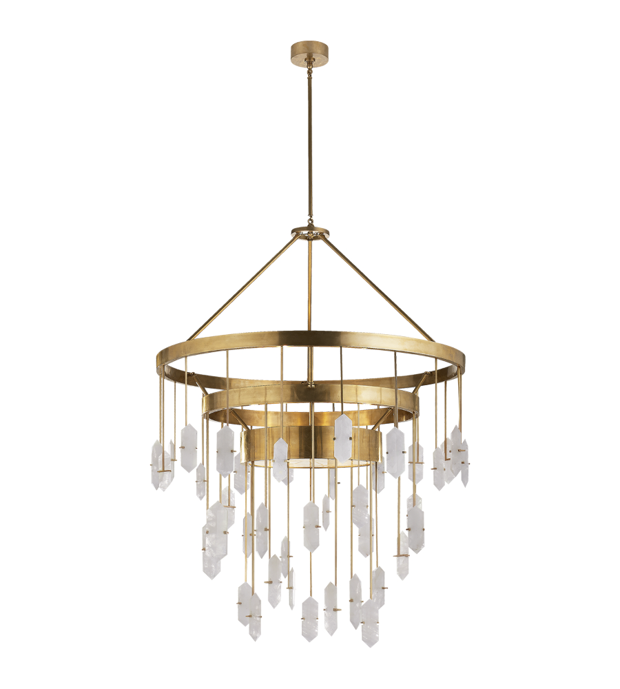 Visual Comfort KW 5012AB-Q Kelly Wearstler Modern Halcyon Large Three Tier  Chandelier in Antique-Burnished Brass with Quartz