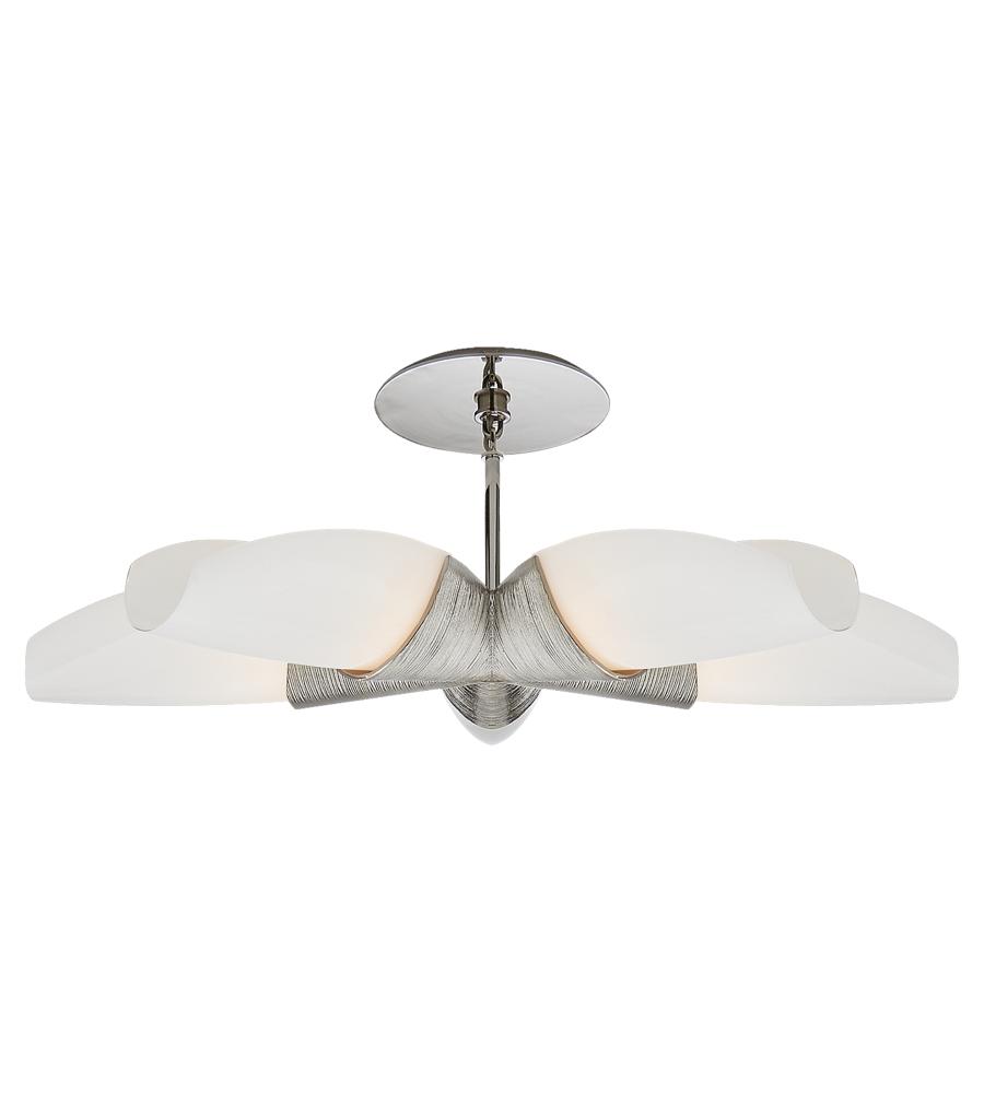 visual comfort kw 5036pnwg kelly wearstler modern utopia medium 5 arm chandelier in polished nickel with white glass