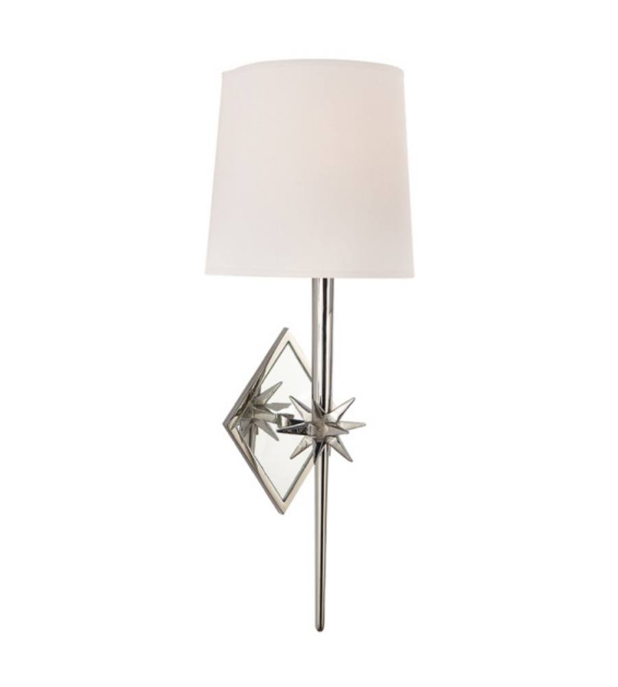 Visual comfort s 2320pn np ian k fowler casual etoile sconce in polished nickel with natural paper shield