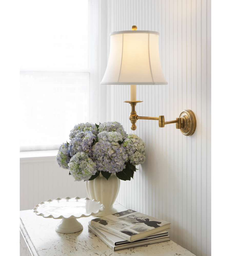 Visual comfort sl 2800hab s e f chapman traditional classic swing arm sconce in hand rubbed antique brass with silk shade