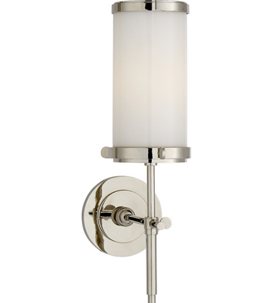 Visual Comfort TOB 2015PN WG Thomas Ou0027Brien Modern Bryant Bath Sconce In  Polished Nickel With White Glass