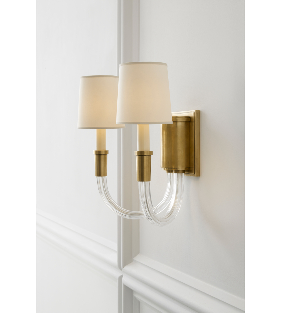 Visual comfort tob 2033hab np thomas obrien modern vivian double sconce in hand rubbed antique brass with natural paper shades