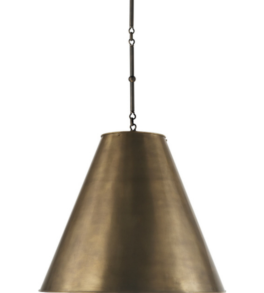 Visual Comfort TOB 5014BZ-HAB Thomas O'Brien Modern Goodman Large Hanging  Lamp in Bronze with Hand-Rubbed Antique Brass Shade