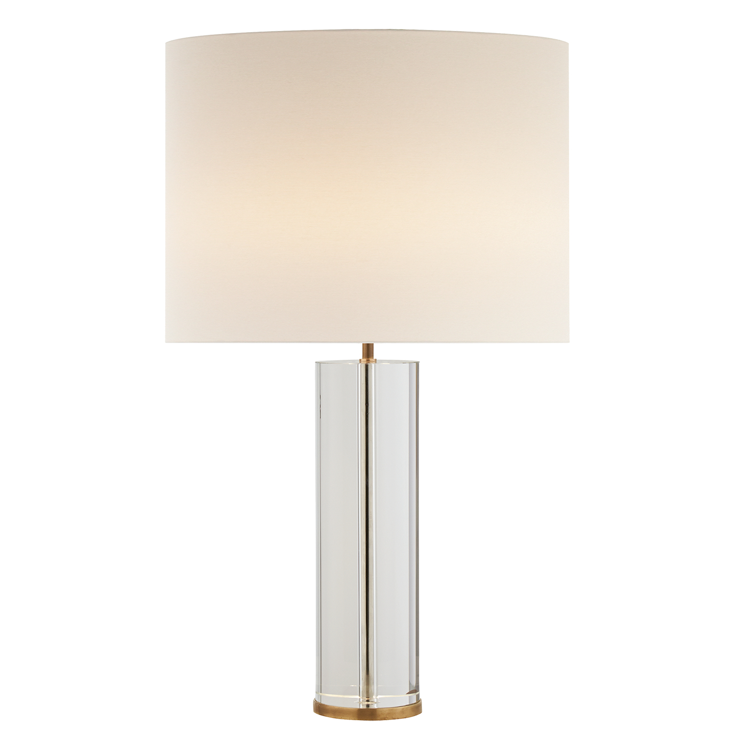 Visual Comfort ARN 3024CG/HAB L AERIN Modern Lineham Table Lamp In Crystal  And Hand Rubbed Antique Brass With Linen Shade