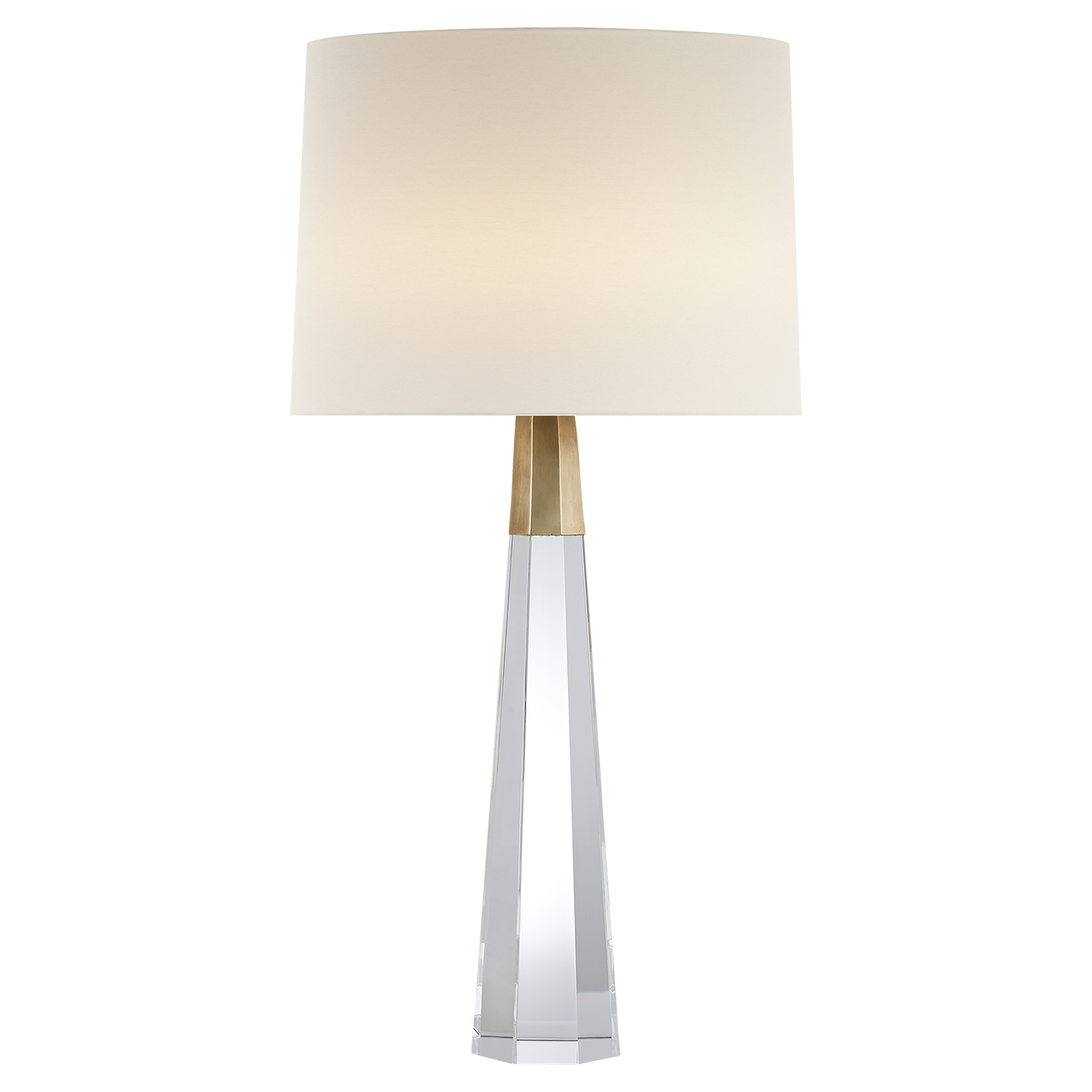 Captivating Visual Comfort ARN 3026CG/HAB L AERIN Traditional Olsen Table Lamp In  Crystal And Hand Rubbed Antique Brass With Linen Shade
