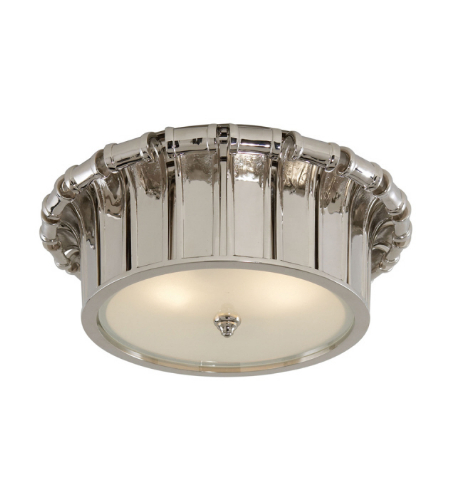Visual Comfort AH 4010PN-FG Alexa Hampton Traditional Vivien Flush Mount in Polished Nickel with Frosted Glass