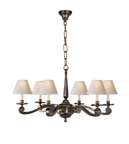 Visual Comfort AH 5010GM-NP Alexa Hampton Traditional Myrna Chandelier in Gun Metal