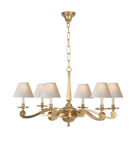 Visual Comfort AH 5010NB-NP Alexa Hampton Traditional Myrna Chandelier in Natural Brass