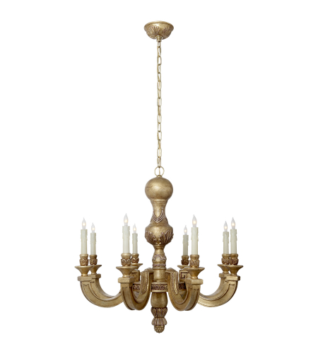 Visual Comfort AH 5025WGL Alexa Hampton Traditional Dexter Small Chandelier in Weathered White and Gold Leaf