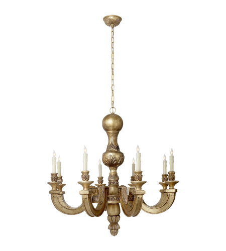 Visual Comfort AH 5026WGL Alexa Hampton Traditional Dexter Large Chandelier in Weathered White and Gold Leaf