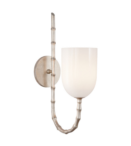 Visual Comfort ARN 2000BSL-WG AERIN Casual Edgemere Wall Light in Burnished Silver Leaf with White Glass