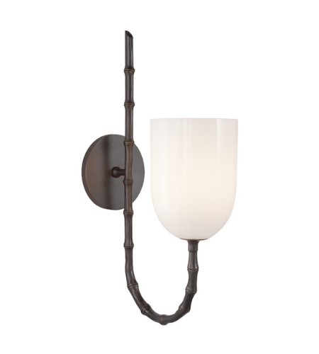 Visual Comfort ARN 2000BZ-WG AERIN Casual Edgemere Wall Light in Bronze with White Glass