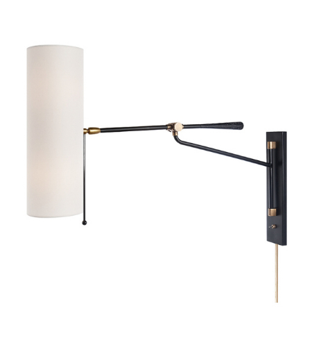 Visual Comfort ARN 2002BLK-L AERIN Modern Frankfort Articulating Wall Light in Black and Hand-Rubbed Antique Brass Accents with Linen Shade