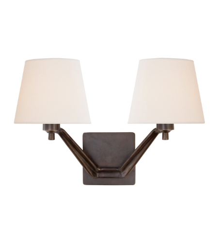 Visual Comfort ARN 2005BZ-L AERIN Modern Union Double Arm Sconce in Bronze with Linen Shades
