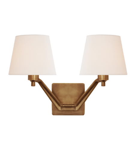 Visual Comfort ARN 2005HAB-L AERIN Modern Union Double Arm Sconce in Hand-Rubbed Antique Brass with Linen Shades