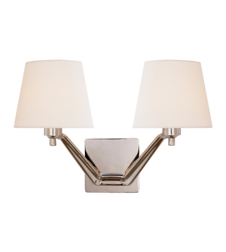 Visual Comfort ARN 2005PN-L AERIN Modern Union Double Arm Sconce in Polished Nickel with Linen Shades