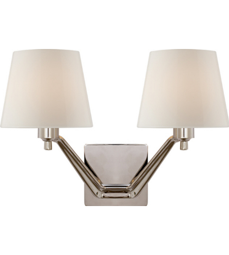 Visual Comfort ARN 2005PN-WG AERIN Modern Union Double Arm Sconce in Polished Nickel with White Glass