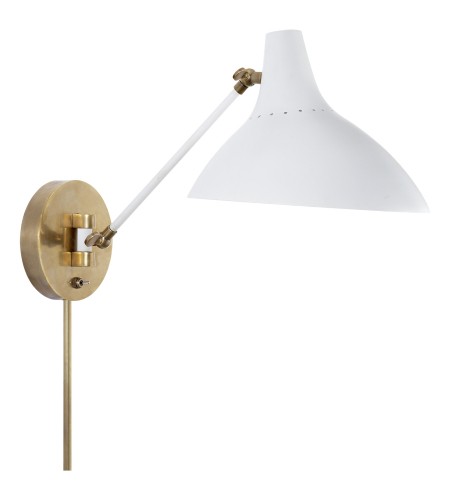 Visual Comfort ARN 2006WHT AERIN Modern Charlton Wall Light in White and Hand-Rubbed Antique Brass