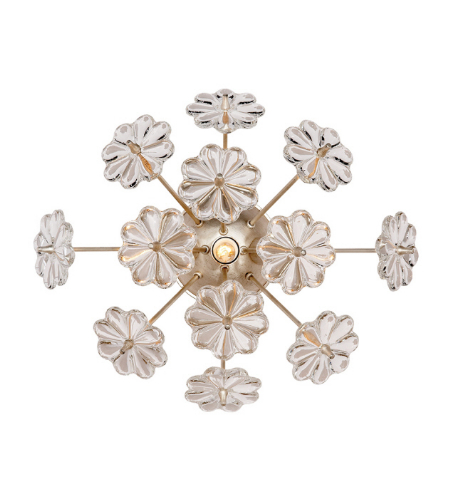 Visual Comfort ARN 2007BSL-CG AERIN Modern Lynn Wall Light in Burnished Silver Leaf with Clear Glass
