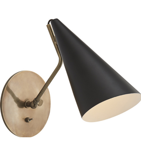 Visual Comfort ARN 2024HAB-BLK AERIN Modern Clemente Wall Light in Hand-Rubbed Antique Brass with Black